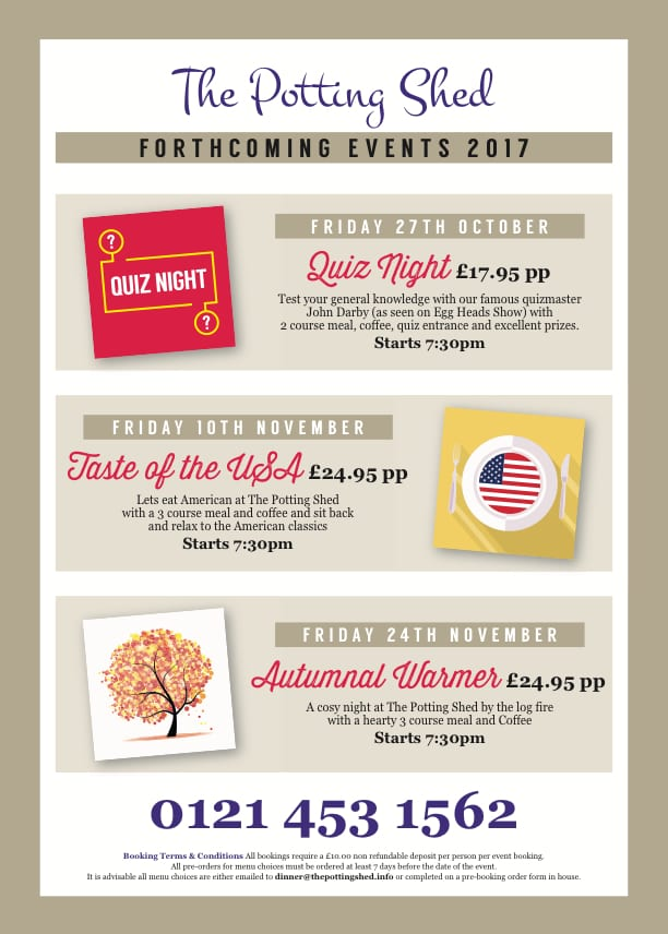 Upcoming Events at The Potting Shed 2017